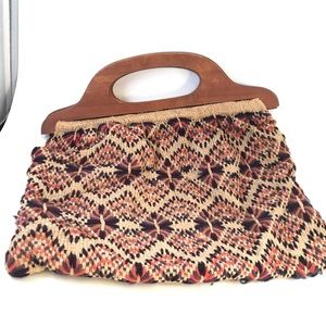 Vintage Woven Knitting Bag with Wooden Handles